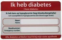 Afbeeldingen van Zorgtotaal diabetes noodkaart