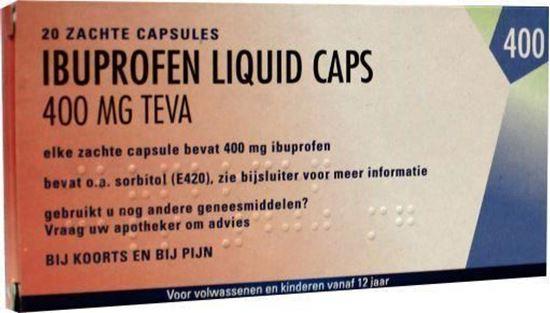Afbeelding van Teva Ibuprofen 400mg Liquid Caps 20caps